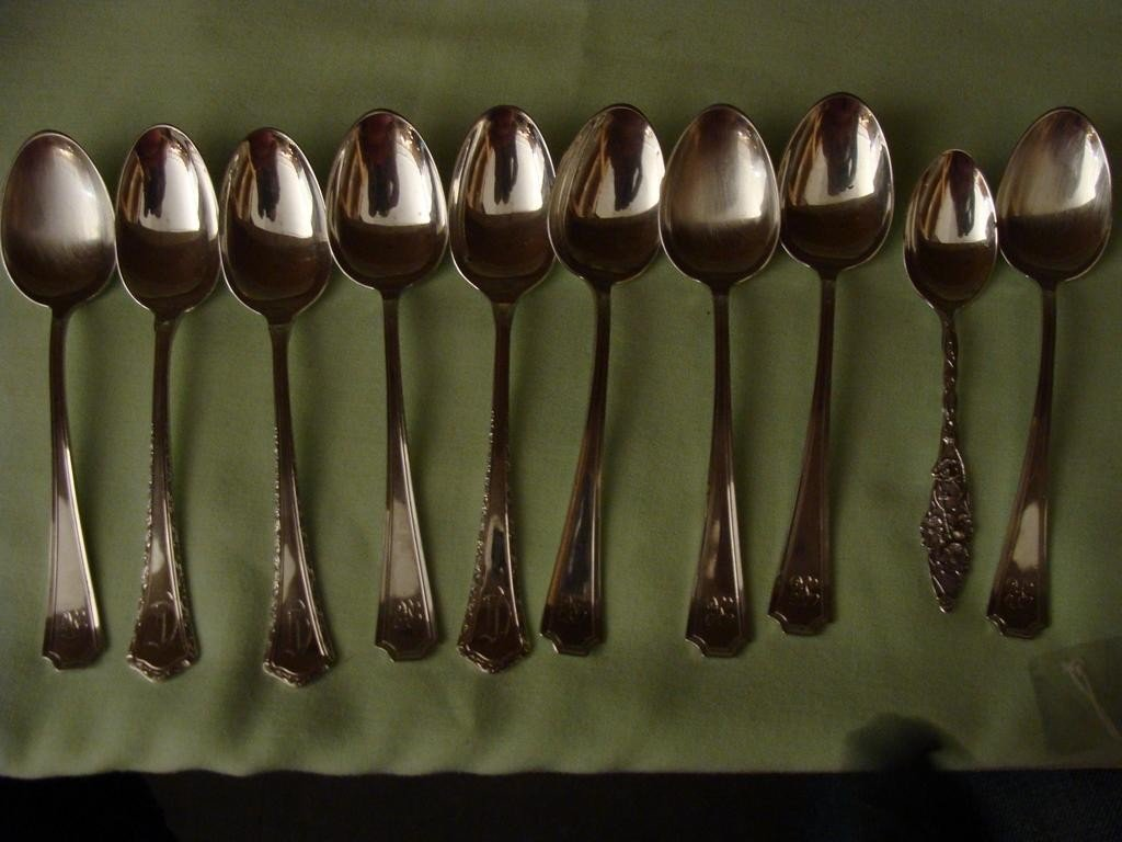 Ten Antique Sterling Silver Demitasse Spoons