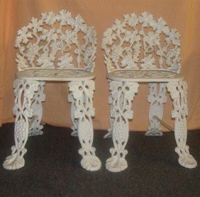 Two Antique Cast Iron Chairs. (See Matching L