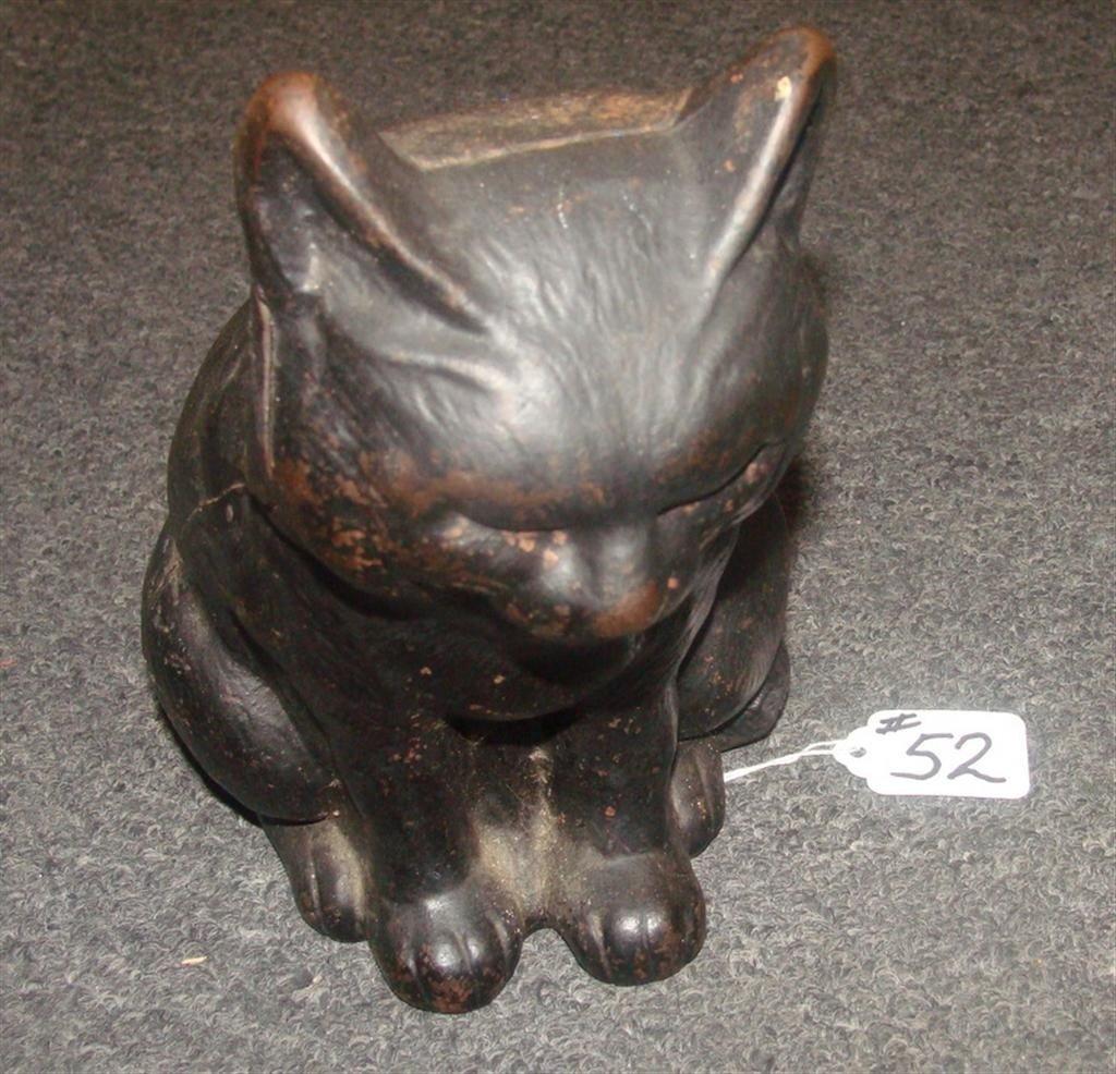 Antique Fat Cat Cast Iron Door Stop. Auction
