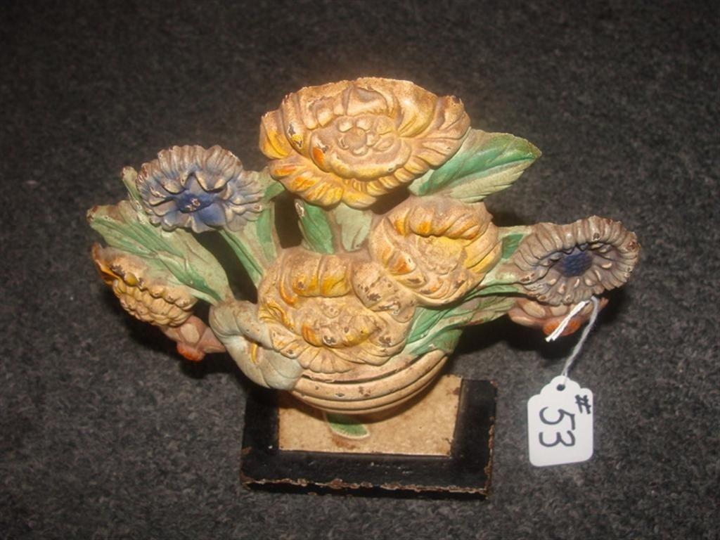 Antique Cast Iron Flower Basket Door Stop wit