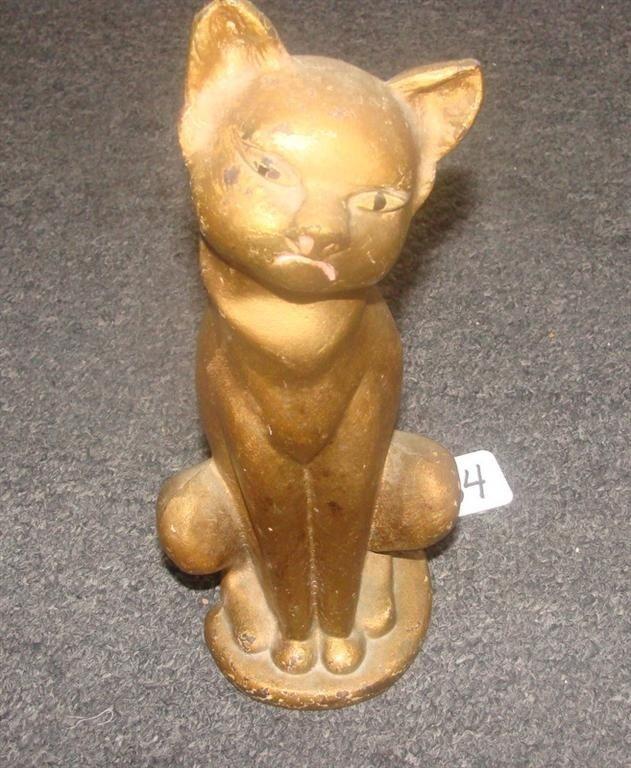 Antique Cast Iron Gold Siamese Cat Door Stop.