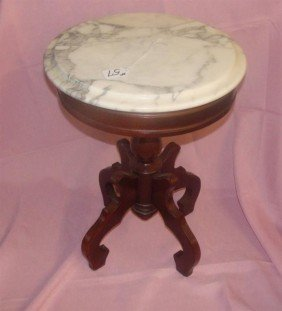 "Mahogany Marble Top Fern Stand. 19""h; 14""diam"