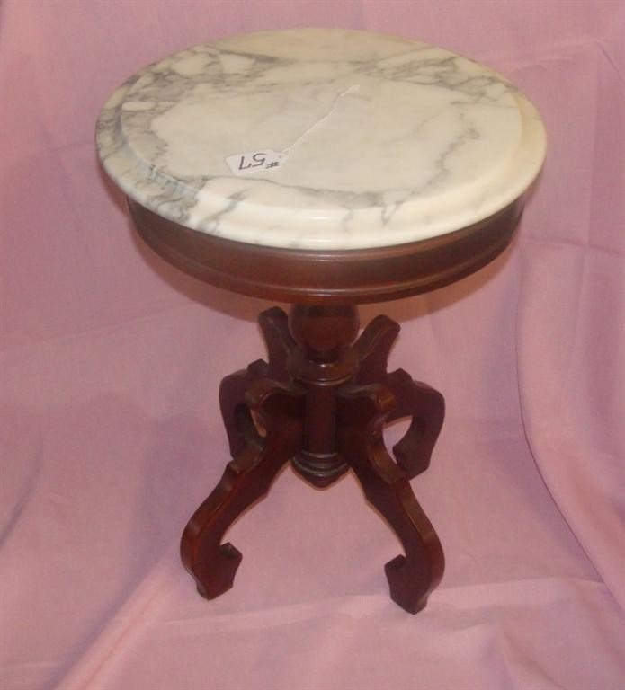 """Mahogany Marble Top Fern Stand. 19""""h; 14""""diam"""
