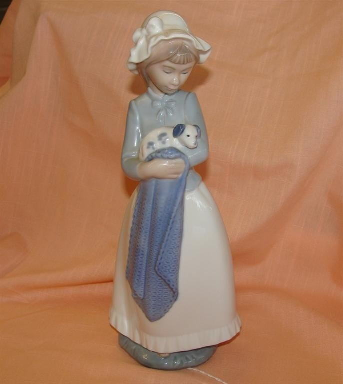 "Lladro Nao Figurine; Lady with Dog. 10"" heigh"