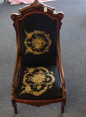 19th Century Needlepoint Chair Ornately Carve
