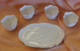 Svc 4 Shelley China Dainty White 8pc Snack Se