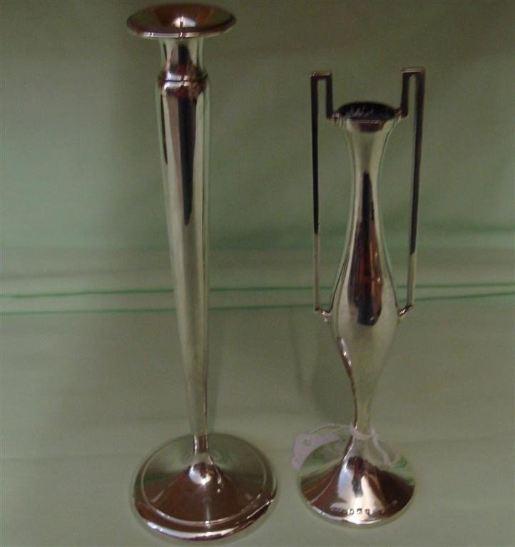 """Two Sterling Silver Vases; 8""""h and 7.25""""h. Au"""
