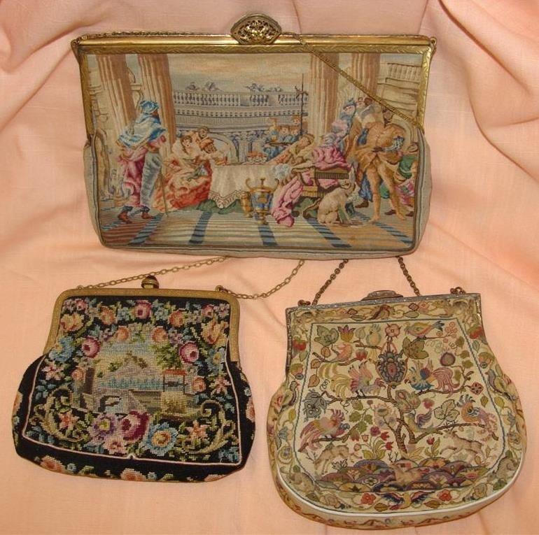3 Vintage Petit Point Handbags / Purses/Hand
