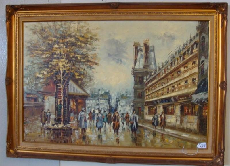 Oil on Canvas Painting of a Paris Street Scen