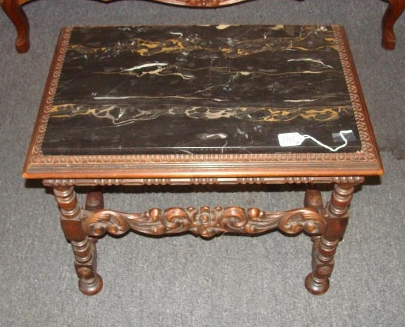 """Carved Jacobean-Style 21""""h Marble Top Coffee"""