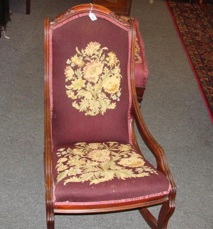 19th Century Needlepoint Rocking Chair with C