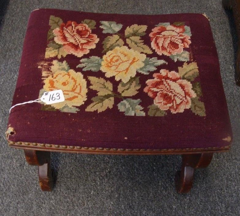 Antique Needlepoint Rose Decorated Footstool.