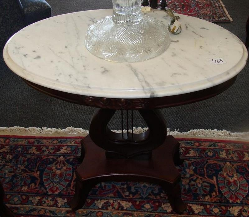Mahogany Lyre Base Marble Top Occasional Tabl