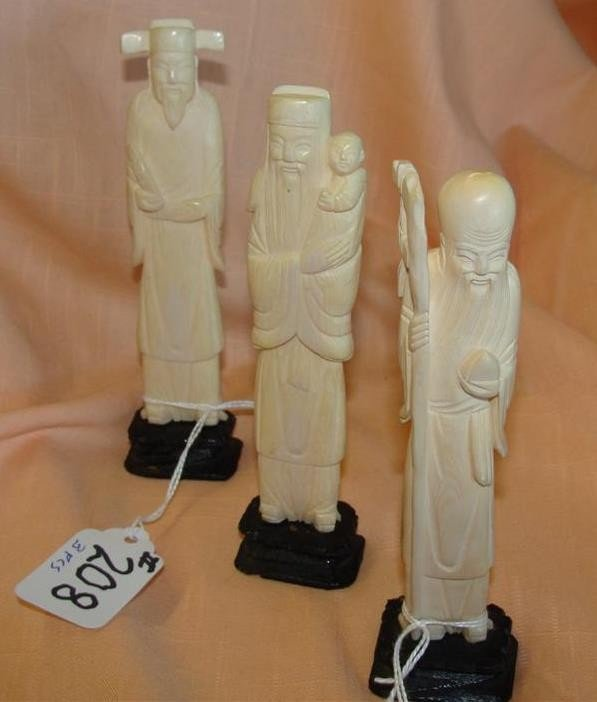 3 Antique Carved Ivory Figurines - Chinese Im