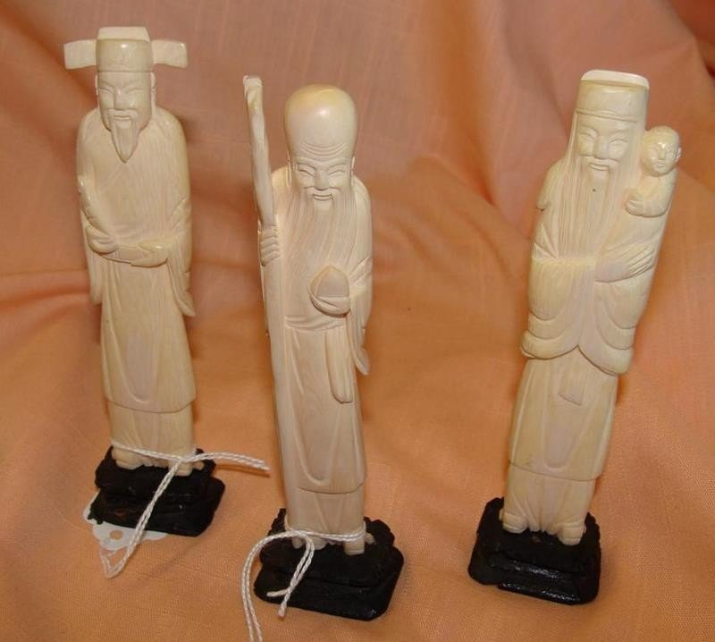 3 Antique Carved Ivory Figurines - Chinese Im - 2