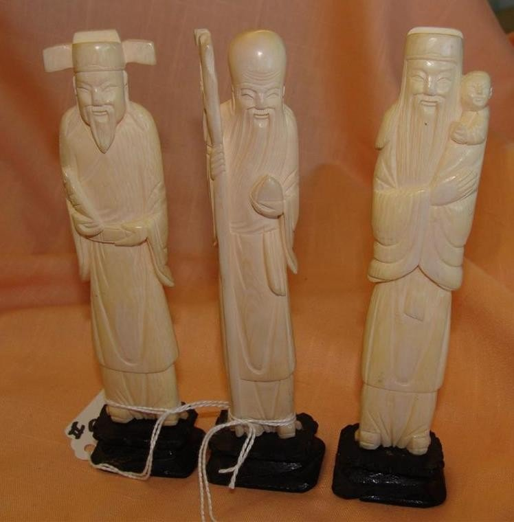 3 Antique Carved Ivory Figurines - Chinese Im - 4
