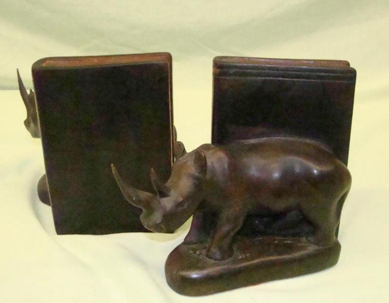 155: Hand Carved Wooden Rhinoceros Bookends - 3