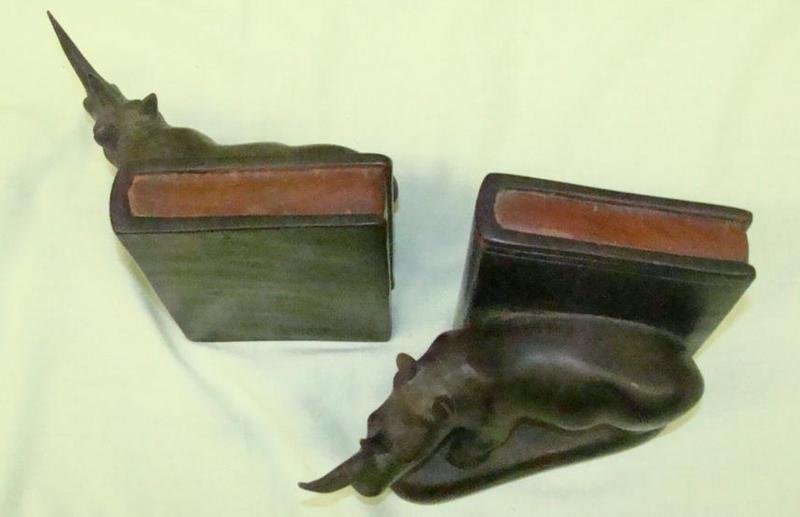 155: Hand Carved Wooden Rhinoceros Bookends - 4