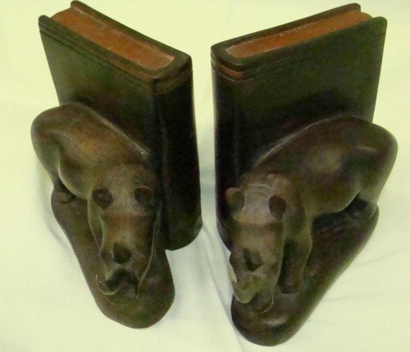 155: Hand Carved Wooden Rhinoceros Bookends - 8