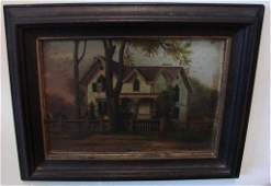158 19c Oil Painting by John Dunward of a New England