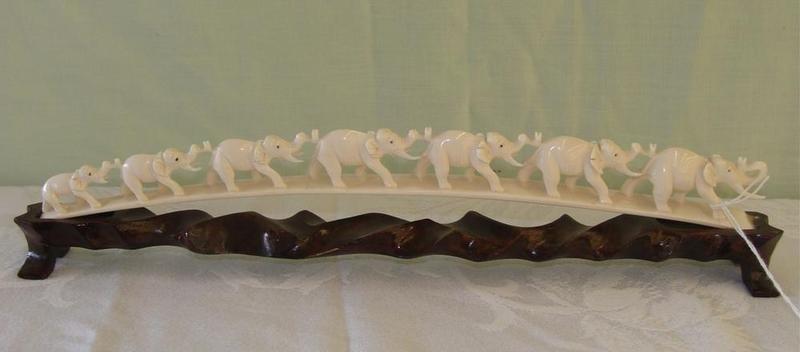 355: Antique Carved Ivory 7 Elephant Bridge on Teak Sta - 4