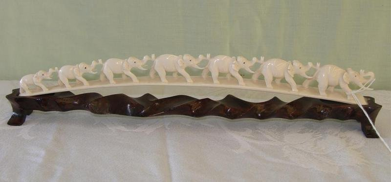 355: Antique Carved Ivory 7 Elephant Bridge on Teak Sta - 5