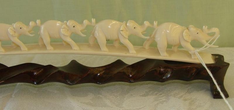 355: Antique Carved Ivory 7 Elephant Bridge on Teak Sta - 6