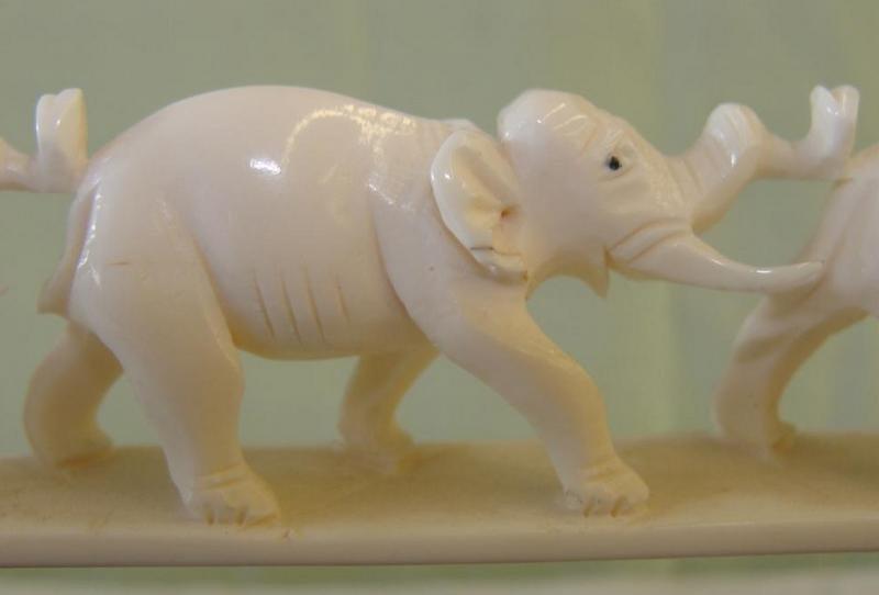 355: Antique Carved Ivory 7 Elephant Bridge on Teak Sta - 7