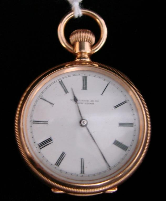 372: 18K Gold Tiffany & Co Ladies Open Face Pocket Watc
