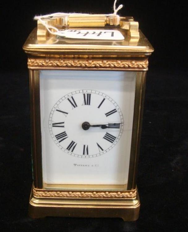 447: Signed Tiffany & Co Antique Carriage Clock