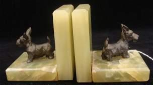 458 Antique Art Deco Onyx Bookends w Bronze Scottie Do