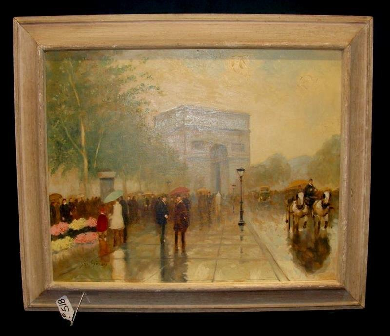 518: Andre Gisson Oil Painting of Arc du Triumphe, Pari
