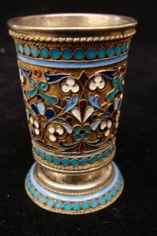 19th Century Russian Silver Enameled Vodka Cup, Decorat