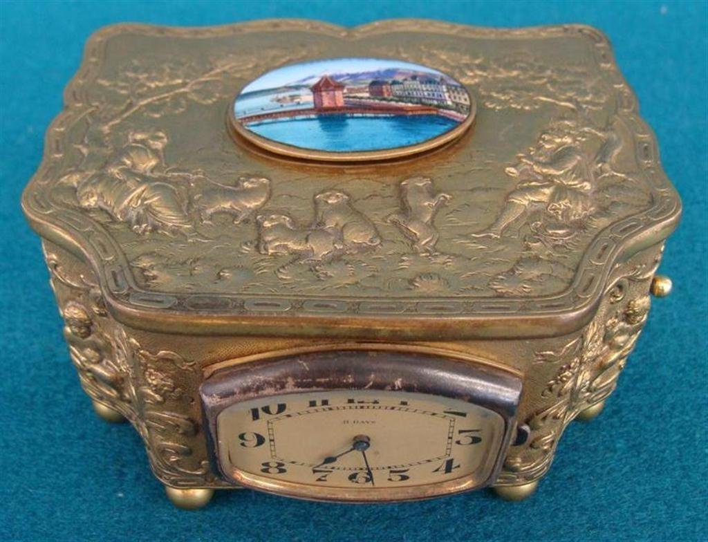 Embossed Brass Automaton Music Box with Singing Bird; E