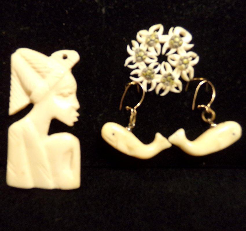 3pc Antique Ivory Jewelry