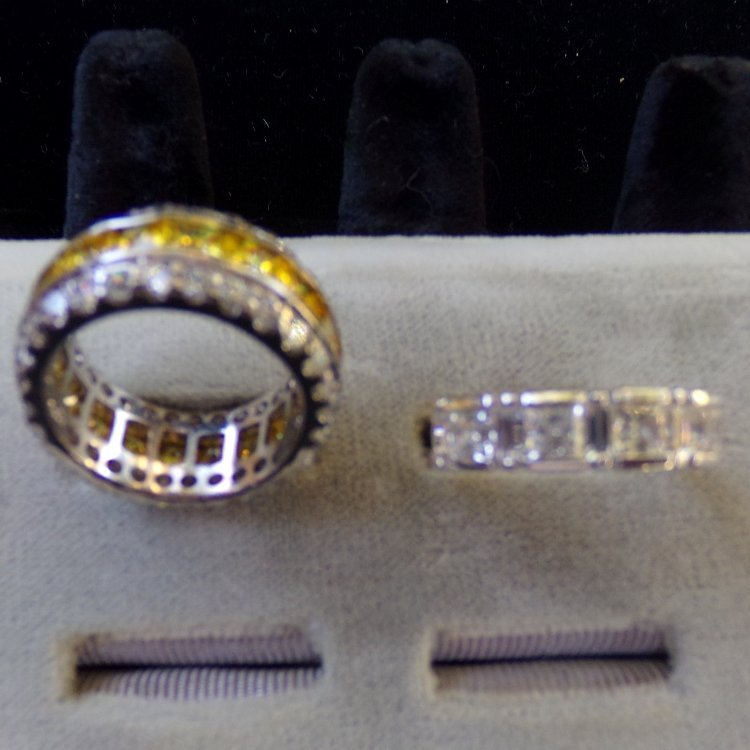 2 Sterling Silver Rings with CZ's