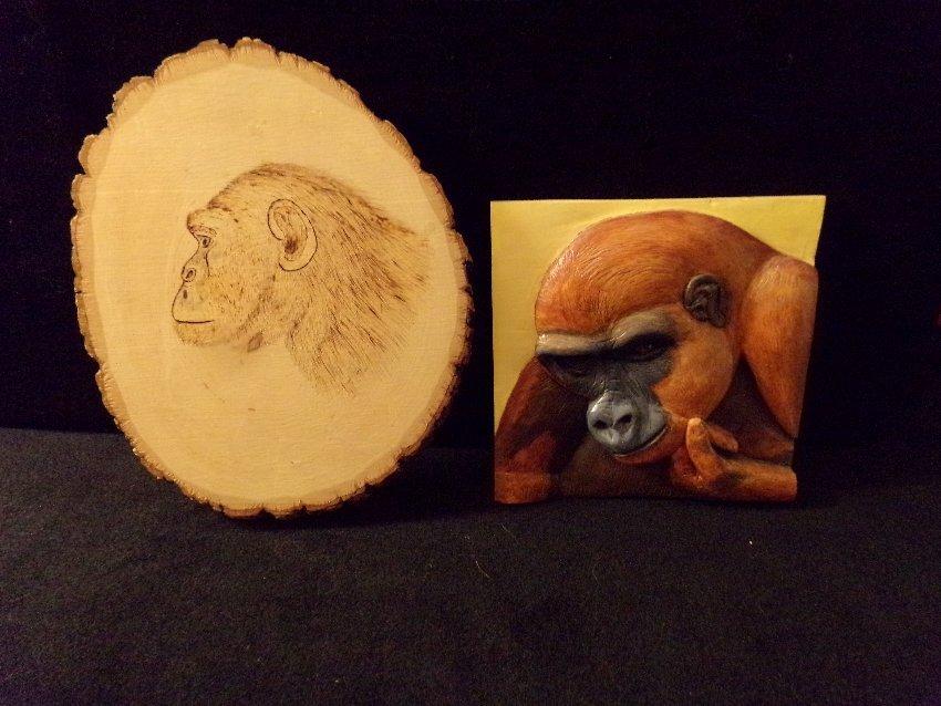 Dick Heintzelman Carved Plaques Lowland Gorillas
