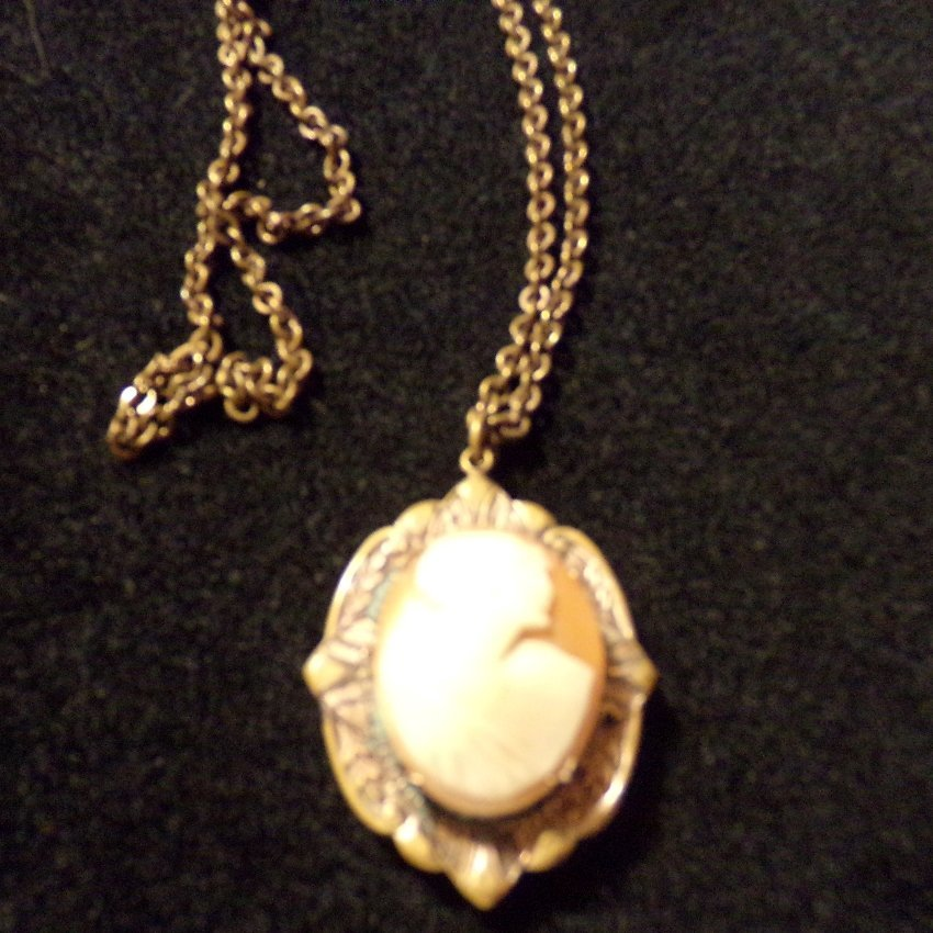 Victorian Carved Shell Cameo Locket Pendant