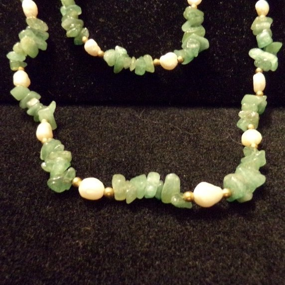 """Jade & Baroque Pearl Necklace w/ gold beads 33"""""""