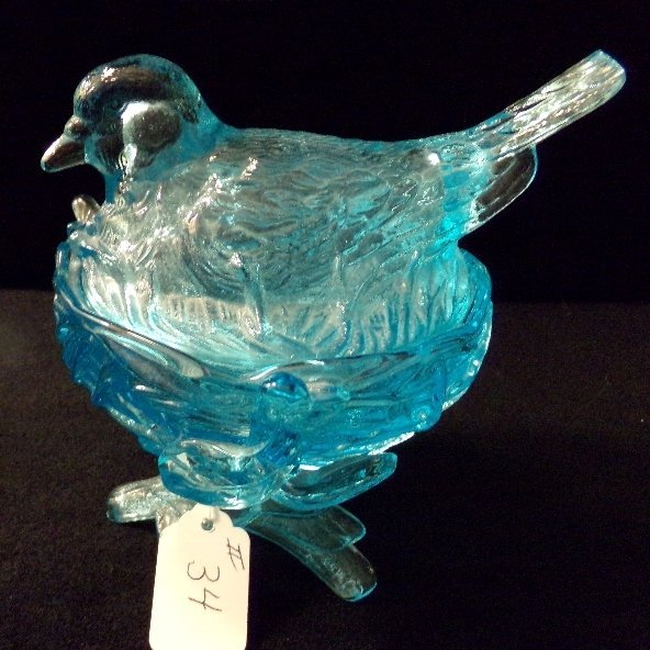 Blue Dove Bird on Nest Westmoreland Candy Dish