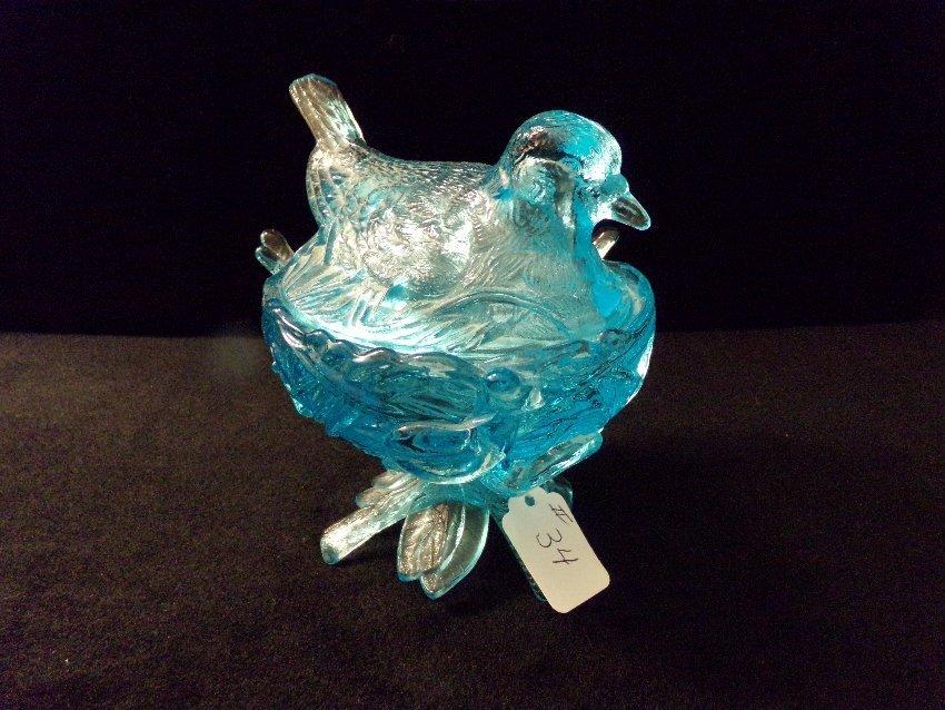 Blue Dove Bird on Nest Westmoreland Candy Dish - 2