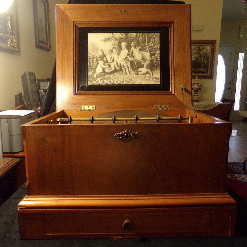"Antique Symphonium Music Box Twin Cone w/8 13 5/8"" Disc"