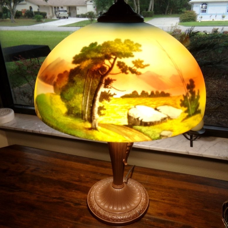 Antique Reverse Painted Lamp Possibly Pittsburg