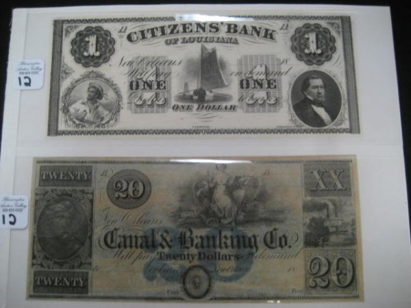 1012:  Two early Louisiana bank notes: one dollar and t