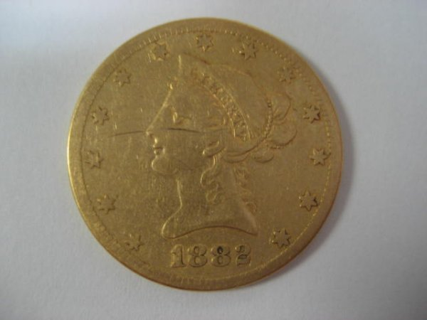 1119A: U.S. 1882 Eagle ten dollar gold coin.