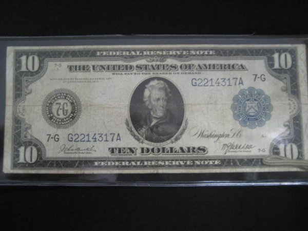 1022: U.S. 1913 ten dollar Federal Reserve note from Ch