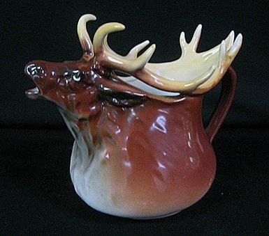 """2002: Rare 7"""" Royal Bayreuth Porcelain Elk Pitcher."""