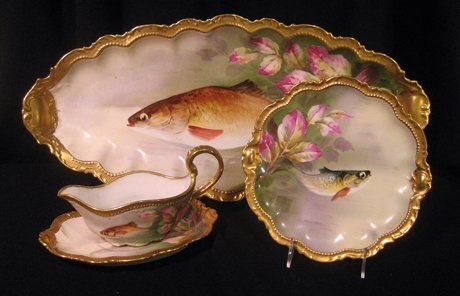 2132: Limoges Hand Painted & Signed Fish Set