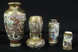 2202: 4 Miniature Japanese Satsuma Earthenware Vases