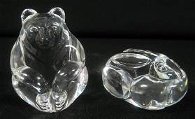 2211: Two miniature Steuben crystal figural hand cooler